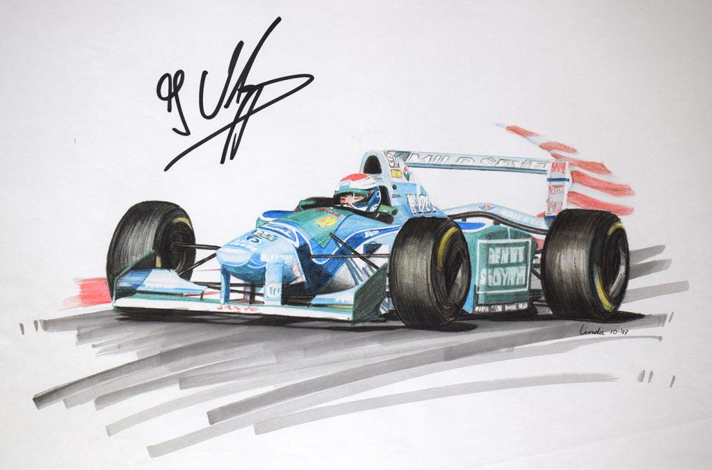 Tekening Verstappen Formule1