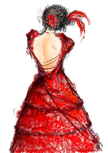 Illustratie photoshop danseres moulin rouge