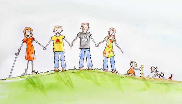 Illustratie aquarel familie vrienden