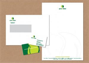ontwerp huisstijl logo visitekaartje briefpapier envelop Groen in Balans