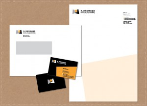 ontwerp huisstijl logo visitekaartje briefpapier envelop R. Brouwer Woning- en Projectinrichting