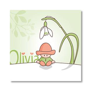 ontwerp illustratie geboortekaartje sneeuwklokje